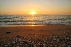 在天空线壳的日落前光在海滩 库存图片