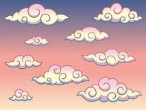在天空背景传染媒介例证的彩虹日本或中国漩涡卷曲样式云彩 皇族释放例证