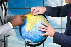 在天空背景的地球 免版税图库摄影