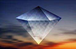 在天空背景的抽象发光的金刚石 免版税库存照片