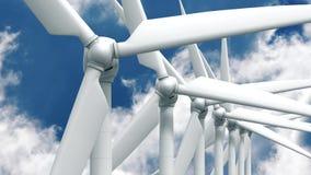 在天空背景的许多风力发电器 库存图片