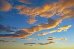 在天空蔚蓝的美丽的金黄积云 库存图片