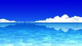 在天空蔚蓝背景的积雨云 在海上的雷暴云彩 r 向量例证