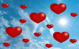 在天空-数字式例证的心脏 库存图片