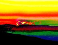 在天际的明亮的飞过的狮子在日落,下午,特殊云彩,颜色本质上 库存例证