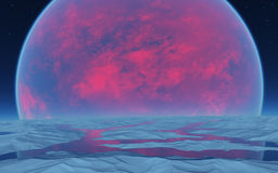 在天际的红色行星 免版税库存图片