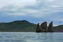 在太平洋Avacha海湾的三个兄弟岩石  堪察加海岸  免版税库存照片