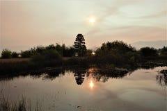 在太浩湖的阳光反射 免版税库存照片