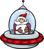 在太空飞船动画片例证的圣诞老人 免版税图库摄影