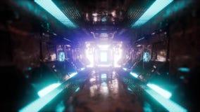 在太空飞船隧道的乘驾 影视素材