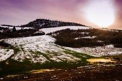 在太阳下的自然冬天风景 免版税图库摄影