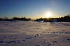 在太阳下的雪土地 免版税库存照片