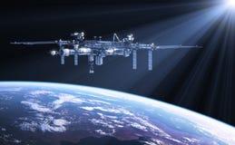 在太阳光芒的国际空间站  库存例证