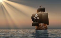 在太阳光芒的海盗船  免版税库存照片