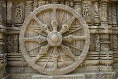 在太阳寺庙的石轮子 图库摄影