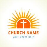 在太阳教会商标的十字架 免版税库存图片