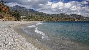 在太阳海岸,西班牙的内尔哈著名手段 库存照片