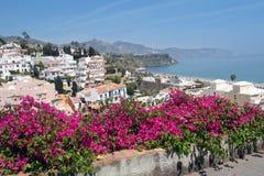 在太阳海岸,马拉加,西班牙的内尔哈著名手段 免版税库存照片