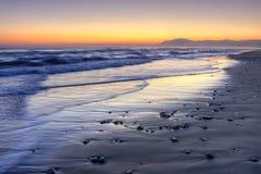 在太阳海岸,马拉加,西班牙的日落 图库摄影