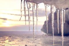 在太阳的美好的冰柱亮光反对日落 在贝加尔湖的冬时 免版税库存图片