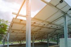 在太阳能电池盘子下,太阳电池板,光致电压,选择el 免版税图库摄影