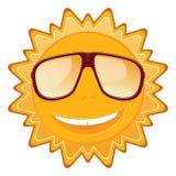 在太阳镜和微笑的夏天太阳 免版税库存照片