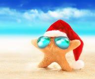 在太阳镜的海星在夏天海滩和圣诞老人帽子 库存图片