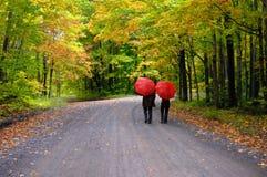 在夫妇红色伞之下 图库摄影
