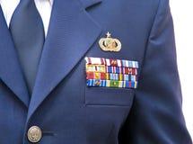 在夹克的军事丝带 库存照片