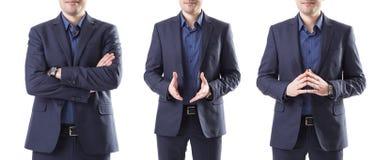 在夹克的姿势示意在w的商人拼贴画  库存图片