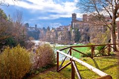 在奇维达莱德尔夫留利Natisone河的峡谷的意大利遗产 免版税库存照片