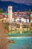 在奇维达莱德尔夫留利Natisone河的峡谷的意大利遗产 库存照片