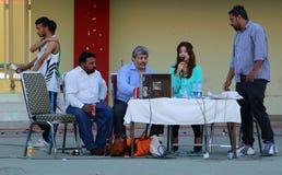 在奎德e Azam省际的比赛的评论箱子 库存图片