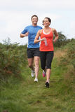 在奔跑的夫妇在乡下 库存图片