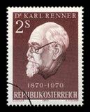 在奥地利打印的邮票显示卡尔伦纳 免版税库存图片