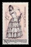 在奥地利打印的邮票,展示小歌剧一个华尔兹梦想,由奥斯卡Straus 库存图片