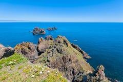 在奥尔特加角海角的岩石,Vixia Herbeira峭壁;奥蒂盖拉;西班牙 免版税库存照片