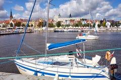 在奥得河的船在高船的决赛期间赛跑2017年 图库摄影