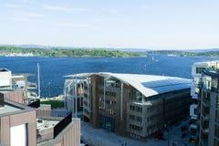 在奥斯陆海湾的挪威宪法天视图 库存照片