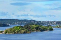 在奥斯陆海湾,挪威的美好的看法 免版税库存图片