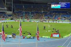 在奥林匹克体育场的美国国旗在Rio2016期间 免版税库存照片