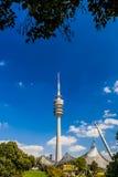在奥林匹克公园的奥林匹克塔,慕尼黑,巴伐利亚,德国 免版税图库摄影