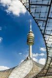 在奥林匹克公园的奥林匹克塔,慕尼黑,巴伐利亚,德国 免版税库存照片