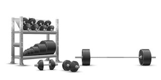 在奥林匹克杠铃、黑铁哑铃和存贮架子的白色背景的现实健身传染媒介与杠铃板材 库存图片