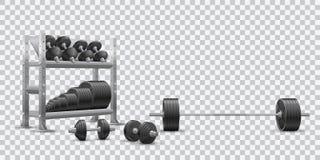 在奥林匹克杠铃、黑dumbbels和存贮架子的透明背景的现实健身传染媒介与杠铃板材 免版税库存图片