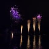 在奥林匹克湖的烟花 免版税库存照片