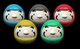 在奥林匹克颜色概念的Daruma玩偶在黑孤立背景中 免版税库存照片