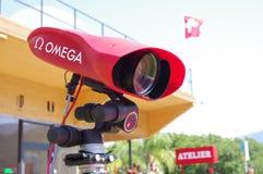 在奥林匹克终点线的照相机 免版税库存图片