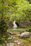 在奥林匹斯山山,希腊的瀑布 免版税库存图片