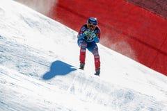 在奥迪FIS高山滑雪世界杯-下坡的人的GANONG特拉维斯 免版税库存照片